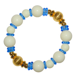 VIVIENNE BANGLE IN IVORY AND LIGHT BLUE