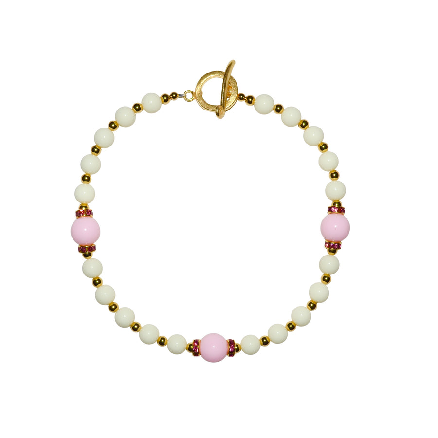 TATE HUDSON NECKLACE IN IVORY AND PINK