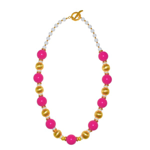 BLAKE LONG NECKLACE IN DARK PINK