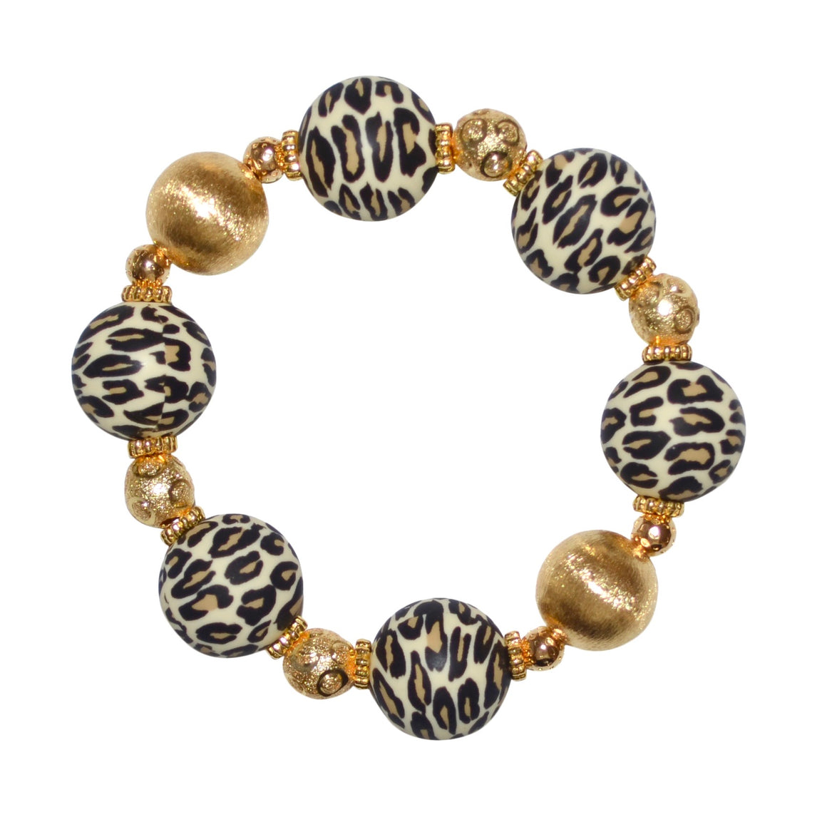TESSA STATEMENT BRACELET IN LEOPARD AND GOLD