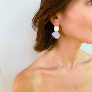 MEREDITH DROP EARRING IN LILAC AND IVORY