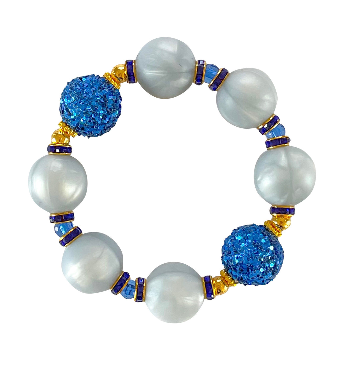 SPRING STATEMENT BRACELET IN LIGHT AND ROYAL BLUE