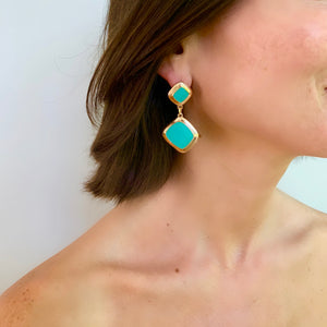 MEREDITH DROP EARRING IN GREEN AQUA