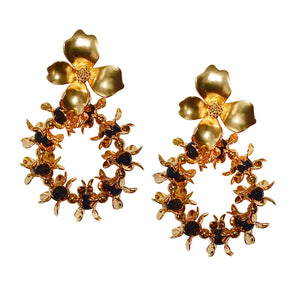 GOLD AND BLACK FLOWER HOOP EARRING