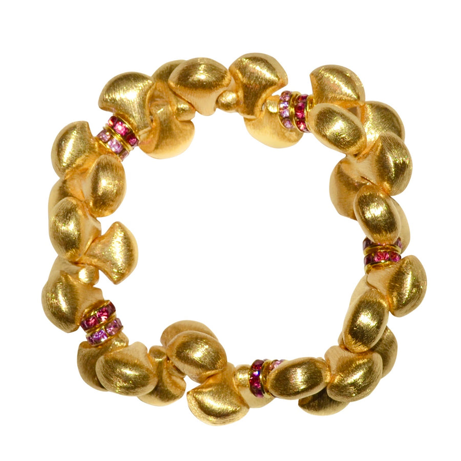 AUDREY BANGLE IN GOLD WITH PINK CRYSTAL