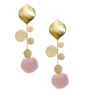 FAXON LONG EARRING WITH PINK POM POM