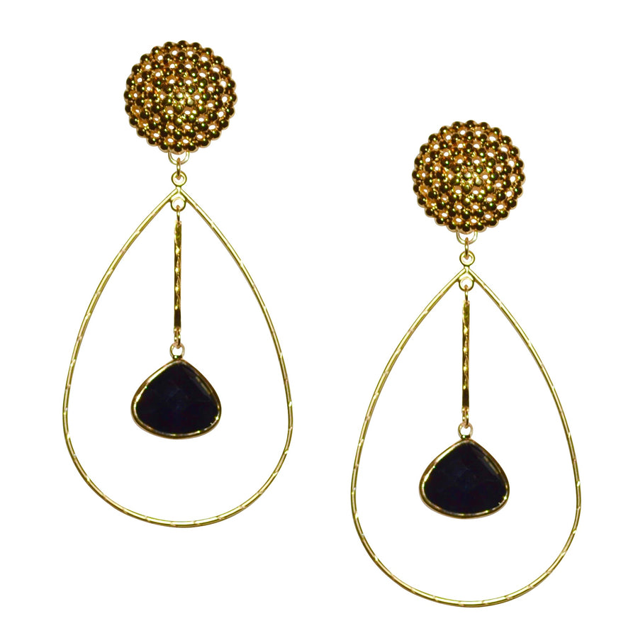 PARKER OVAL EARRING WITH FACETED BLACK CRYSTAL