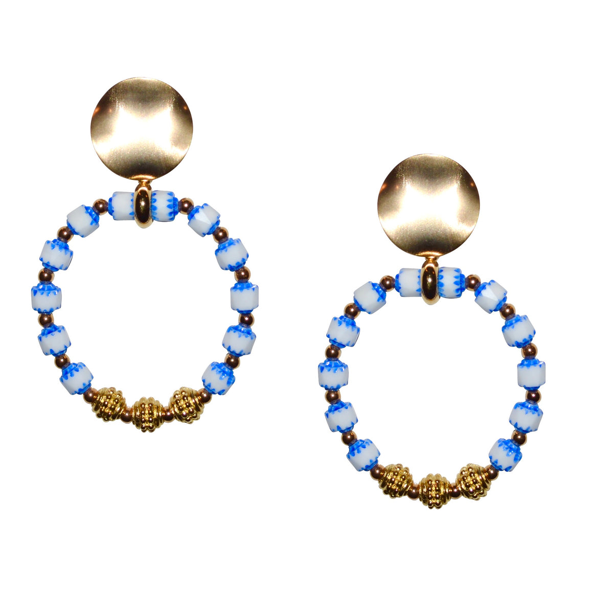 CORA RING EARRING IN BLUE AND WHITE