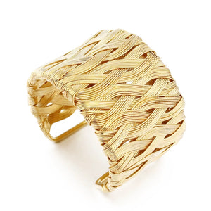 WOVEN WIRE WRAPPED GOLD CUFF
