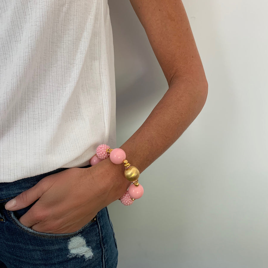VIVIENNE STATEMENT BRACELET IN PINK AND GOLD