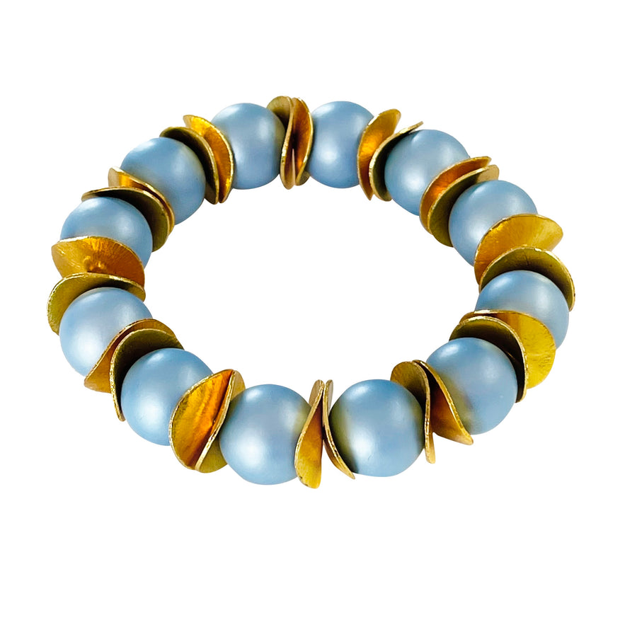 WAVY DISC STATEMENT BRACELET IN LIGHT BLUE AND GOLD