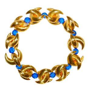 LUNA BANGLE IN GOLD AND LIGHT BLUE
