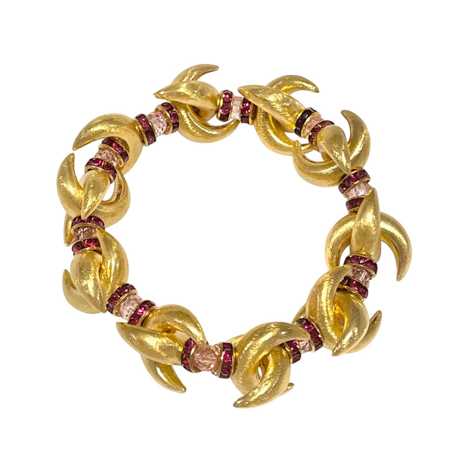 VALENTINES LUNA BANGLE IN GOLD WITH LIGHT PINK AND DEEP RED CRYSTAL