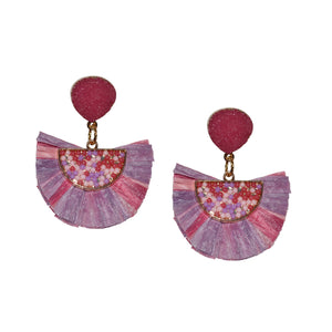 RAFFIA EARRING IN PINK AND PURPLE WITH DRUZY POST