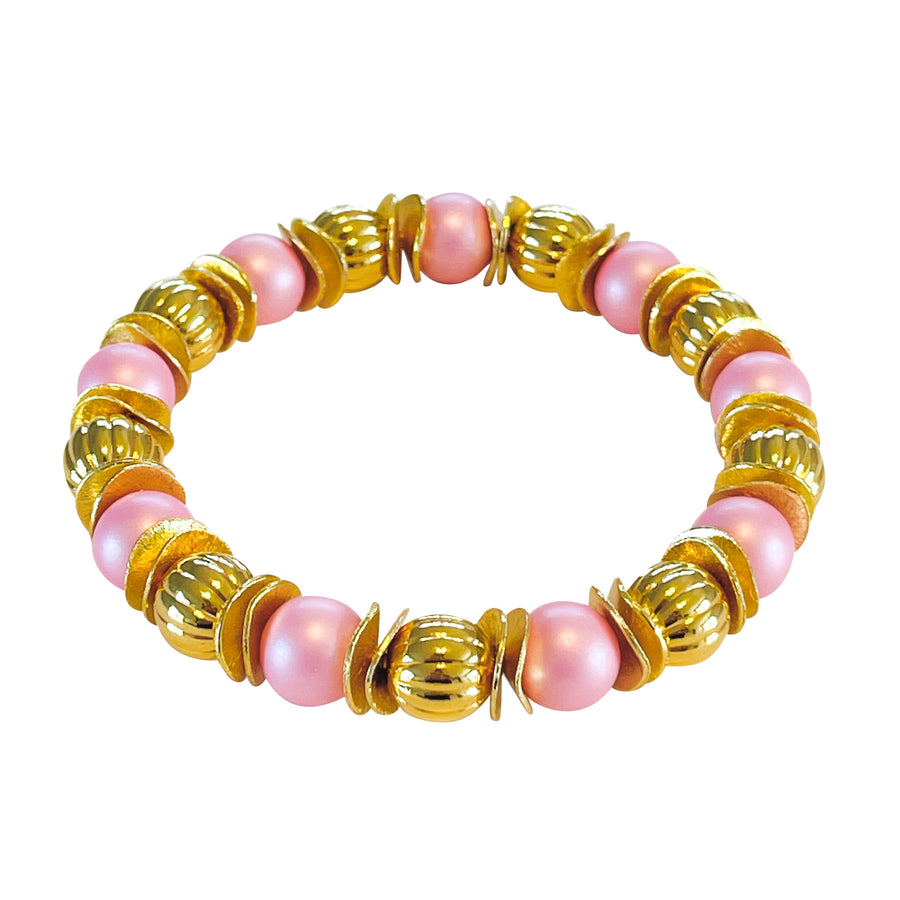 WAVY DISC BANGLE IN LIGHT PINK AND GOLD
