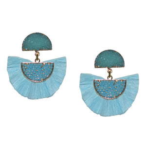 RAFFIA EARRING IN LIGHT BLUE WITH DRUZY POST
