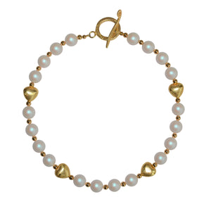 TATE HUDSON SWAROVSKI PEARL HEART NECKLACE