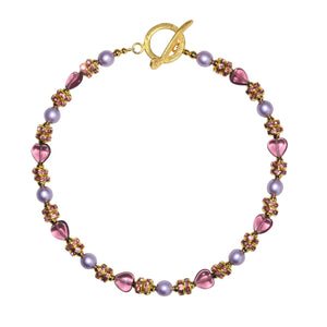 TATE HUDSON HEART NECKLACE IN PINK & PURPLE