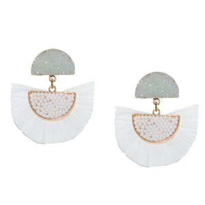 RAFFIA EARRING IN WHITE WITH DRUZY POST WITH DRUZY POST