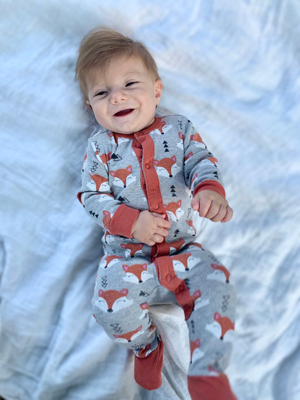 Infant Geo Fox Footie Pajamas