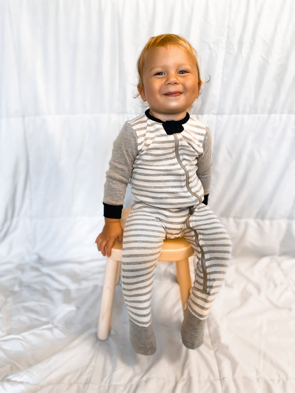 Infant Stripe Rib Footie One-Piece