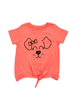 Puppy Face Graphic Bow Front Tee