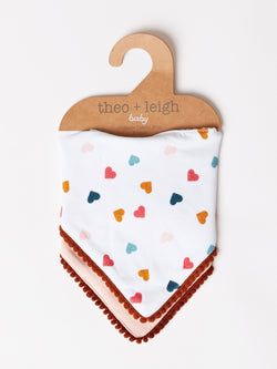 Infant Rainbow Heart Print Bib 2-Pack
