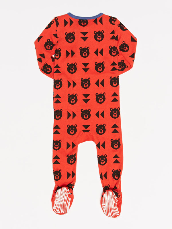 Infant Bear Print Footie Pajamas