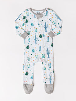 Infant Cactus Print Footie One-Piece