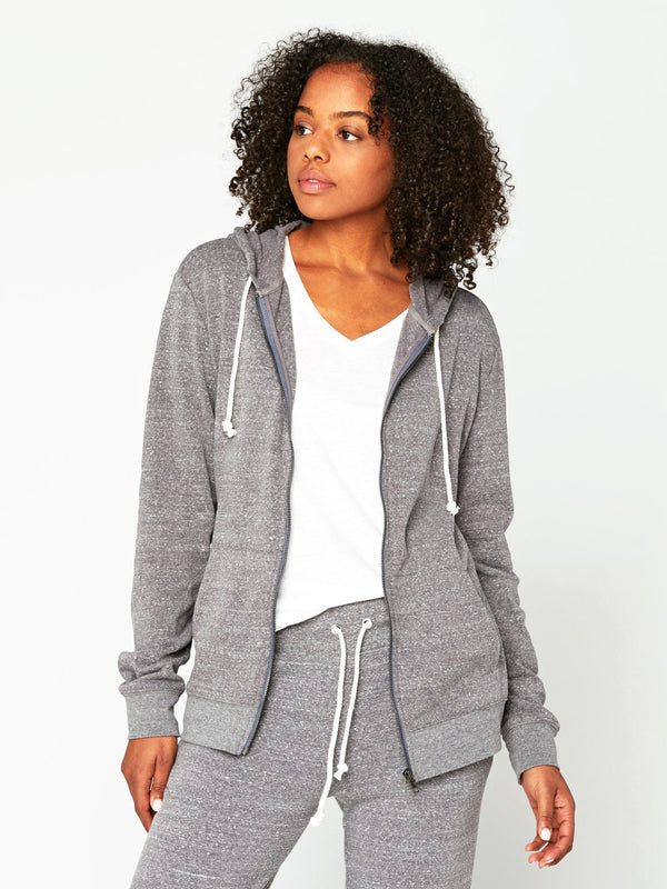 Triblend Zip Hoodie Womens Outerwear Sweatshirt Threads 4 Thought XS Heather Grey