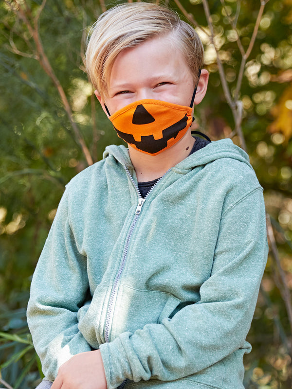 Youth Adjustable Pumpkin Face Covering