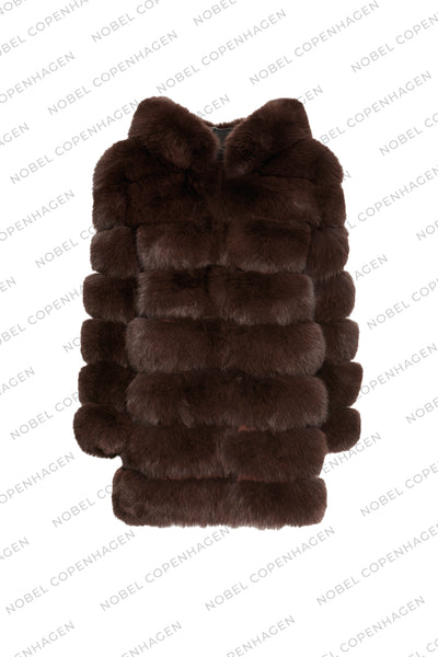 SAMPLE - LONG FURS W. HOODIE - DARK BROWN + CHOCOLATE FROST