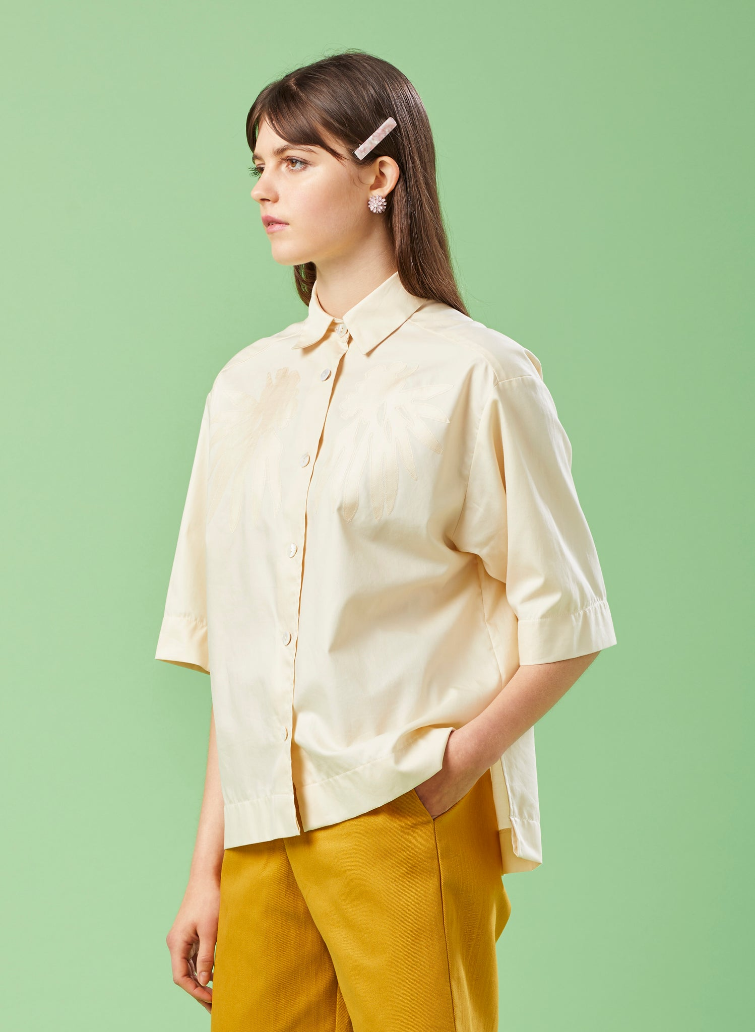 Back & Beyond Ivory Cotton Shirt Jacket