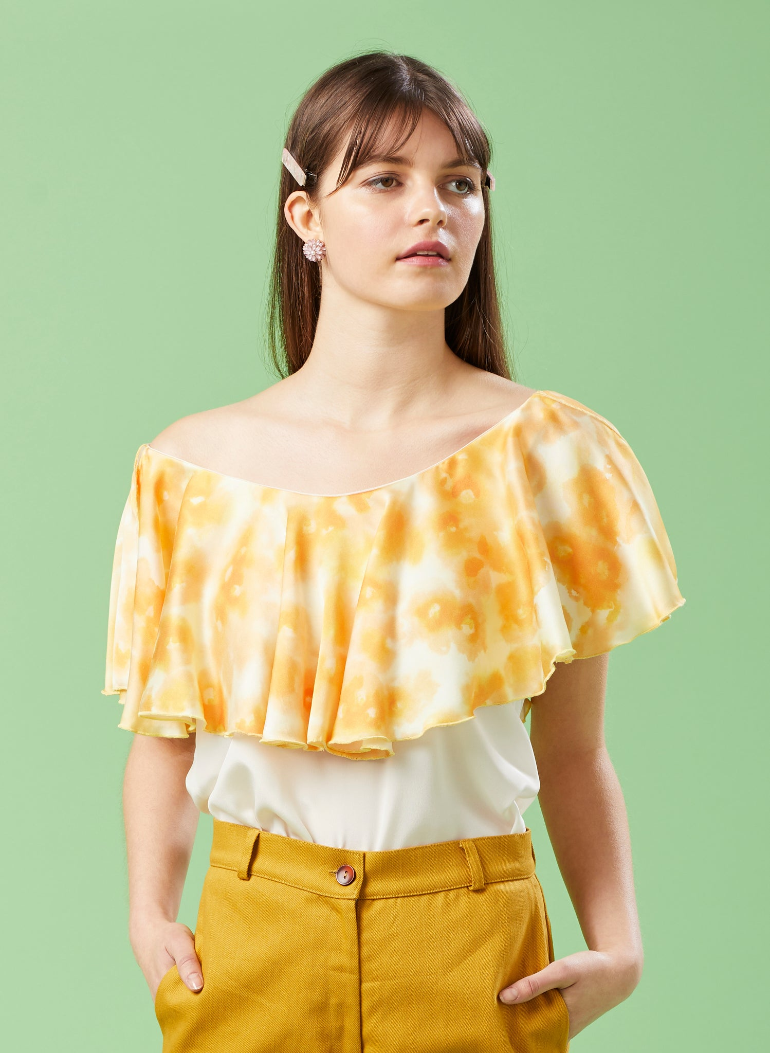 Hot House Silk Ruffle Top