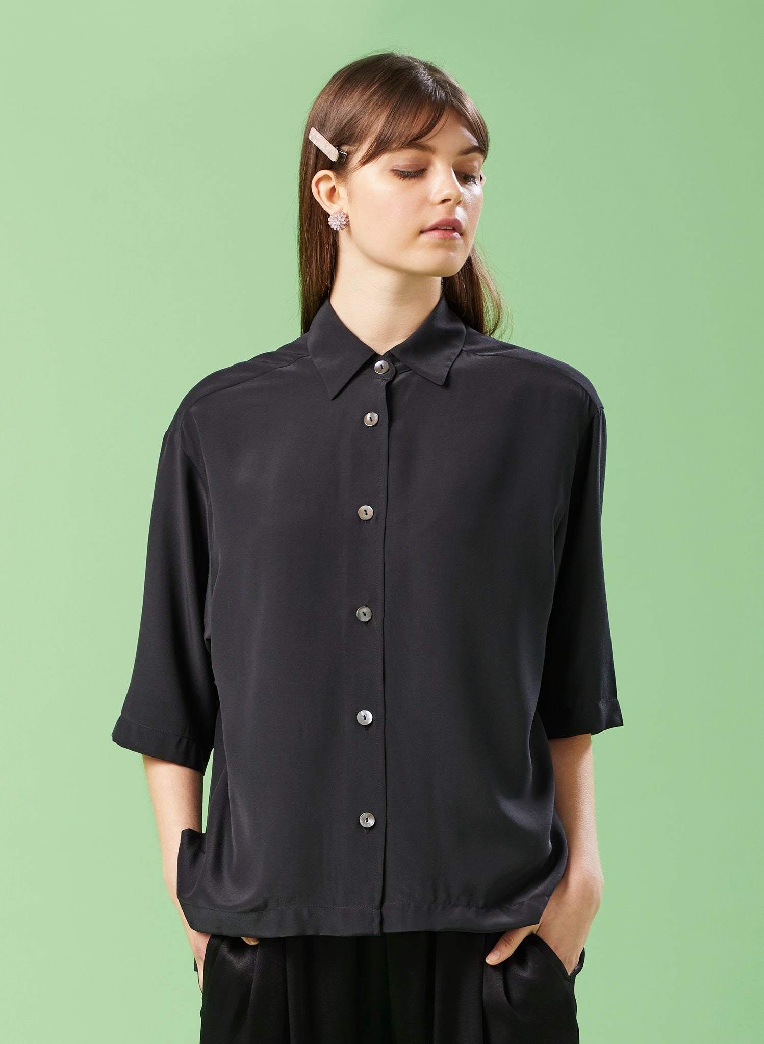 Back & Beyond Ebony Silk Shirt Jacket