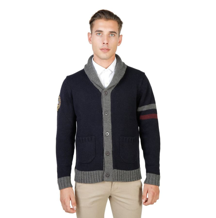Oxford University - OXFORD_TRICOT-CARDIGAN - blue / M - Clothing Sweaters