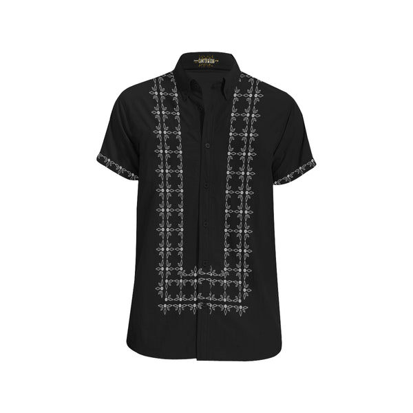 Ivory Polo Barong BLACK CUSTOM Shirt