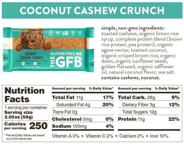 coconut cashew crunch gfb nutrition facts