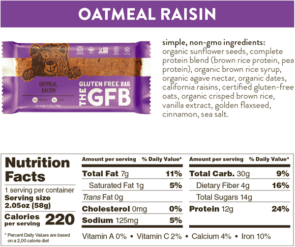 oatmeal raisin gfb nutrition facts