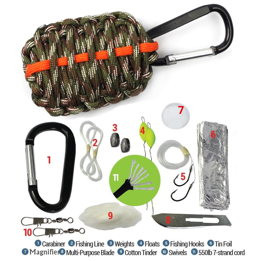 Survival paracord  Carabiner Fishing Tool Survival Kit Emergency Outdoor tools