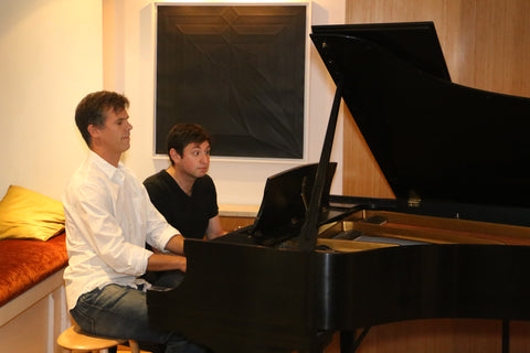 Pianist Ronen Segev and Andy Luse are performing piano 4 hands on a Steinway Model L Piano at Park Avenue Pianos.