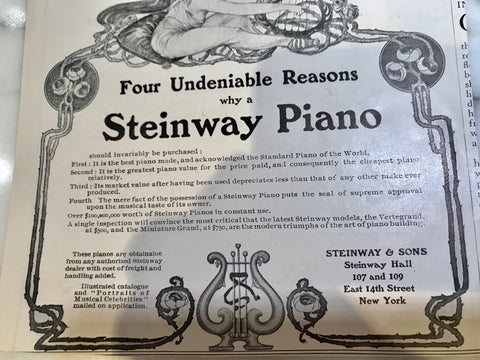 Steinway advertisement from the 1930's showing price doesn't depreciate