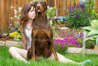 Brandy sitting in a yard in Loveland, CO during the summer with a raised flower bed of blooming columbines and ice plant behind her and her dog Abe, a doberman, sitting in her lap