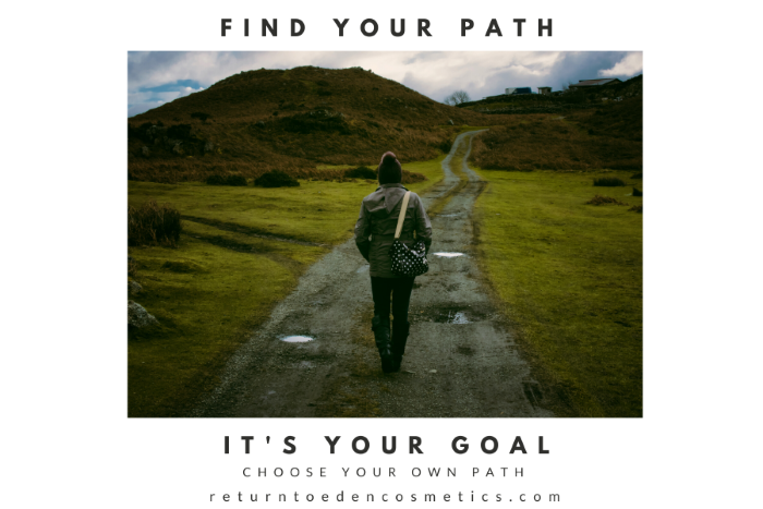 "woman in winter clothing walking along a dirt path in a green hilly countryside with gray skies and text reading ""It's your goal, choose your own path"""