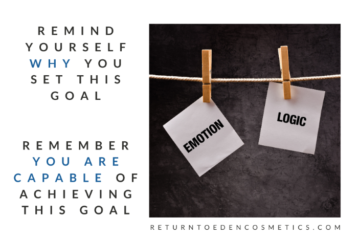 "two postits hanging from a clothesline against a chalkboard background, one post it says ""Emotion"" and the second ""Logic"" text that reads ""remember why you set this goal and remember you are capable of achieving this goal"""