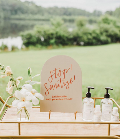 hand sanitizer for guests and decor at wedding