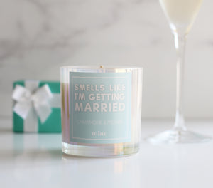 The Mine Co - Champagne and Peonies Candle - Smells Like I'm Getting Married - 7oz Soy Wax Candle - Something Blue - White Iridescent Candle