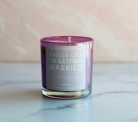 The Mine Co - Garden Ceremony Candle - Smells Like I'm Getting Married - 7oz Soy Wax Candle - Purple Iridescent Candle - Bridal Gift