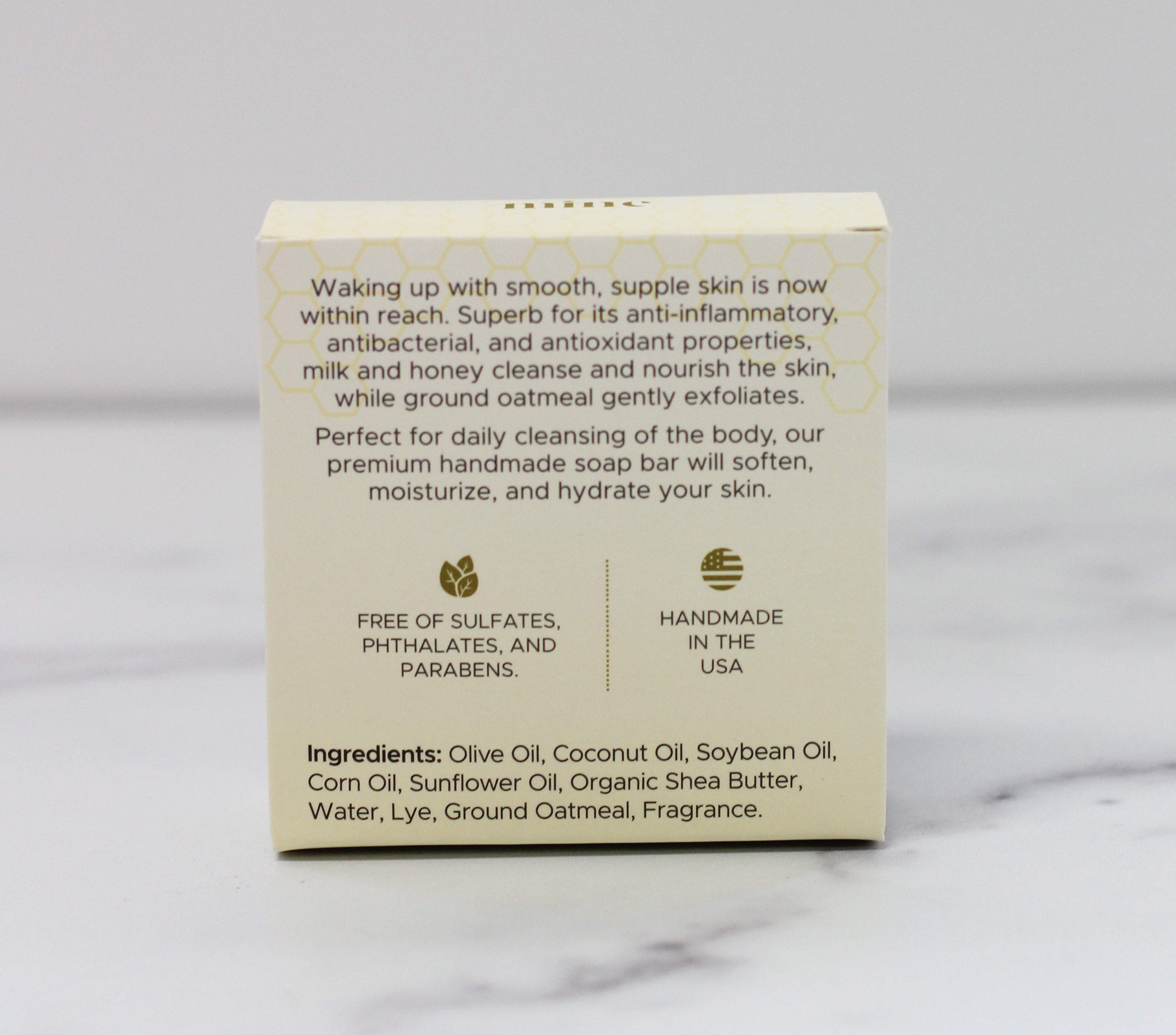 The Mine Co - Honey, it's time to detox - cleansing body bar - oatmeal milk and honey soap - ingredient list