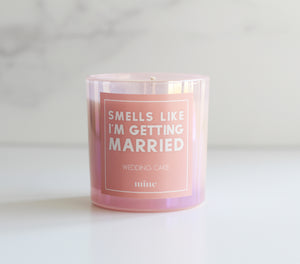 Wedding Cake Candle - The Mine Co - Smells Like I'm Getting Married - 7 oz soy wax pink iridescent candle